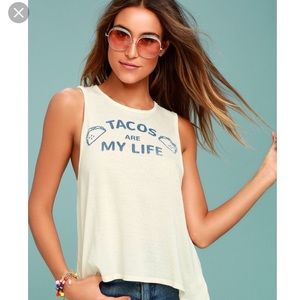 NWT CHASER TACOS ARE MY LIFE TANK TOP